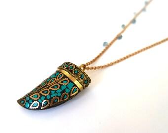 Necklace turquoise Tibetan Horn