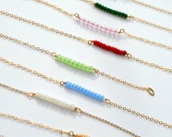 Horizontal beaded birthstone bracelet, dainty gemstone bracelet, birthstone bracelet,  beaded bracelet, dainty bracelet, bridesmaid gift