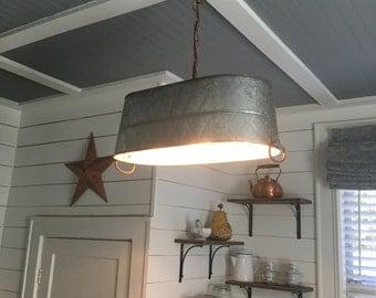Galvanized Steel Farmhouse Kitchen Lighting Handcrafted Kitchen Light Fixture Primitive Home Decor Rustic Kitchen Decor