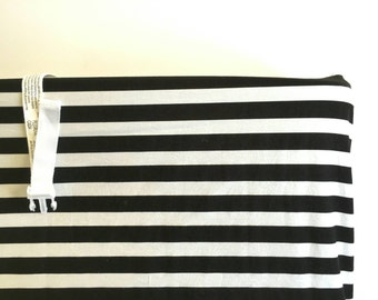 Black and white stripped changing pad cover