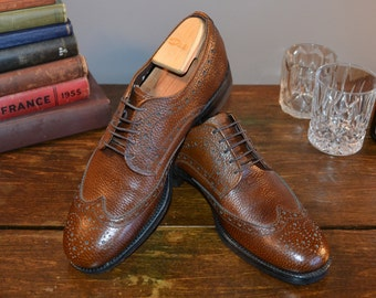 NOS Men's Brown Leather Pebble Grain Brogue Wingtip // Blucher Dress Shoes by Birkdale Size 8