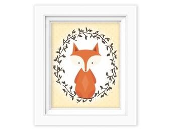 Printable Wall Art, Woodland fox art, Baby Boy baby girl Nursery decor, Gender Neutral Nursery art, Baby Girl Woodland Nursery Print