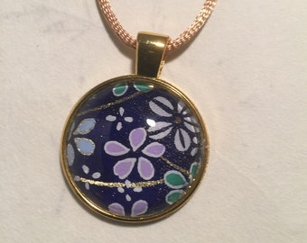 P1R.4 Blue Floral Chiyogami and Glass Pendant