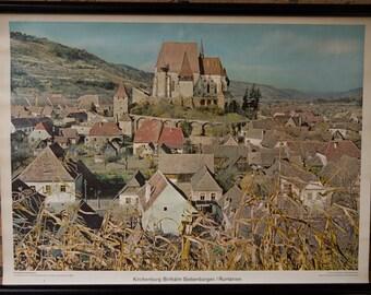 Vintage  Pull Down Chart Kirchenburg Birthalm Siebenburgen Roemenie School Chart