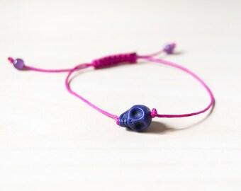 Purple skull bracelet, skull bracelet, tiny skull bracelet, sugar skull bracelet, skull jewelry, purple bracelets, bracelet with skull