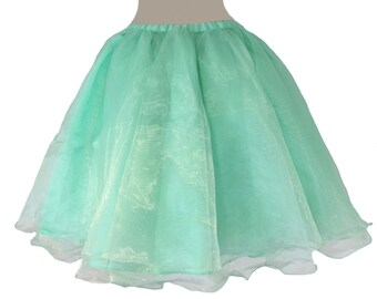 """Vintage Style Organza 22"""" inches layers skirt (waist from 23 - 29 inches) Bridal Shower Bridesmaid Skirt Tutu Flower Girl Tutu Skirt"""