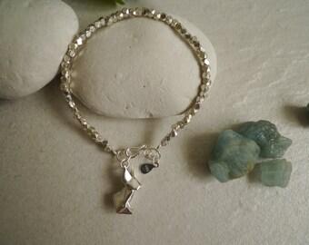 Rabbit Bracelet/Bunny Bracelet/Origami Rabbit Bracelet/Animal Bracelet/Silver Rabbit Bracelet/Anniversary gift/Matt Silver Sand Bracelet