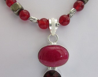 Ruby, red Carnelian and Pyrite Pendant Necklace