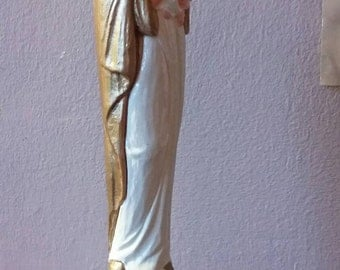 Mother Mary Madonna with Child Figurine Statue Chalkware Plaster Religious Catholic Christian Iconography