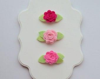 Set of 3 Felt Flower Snap Clips