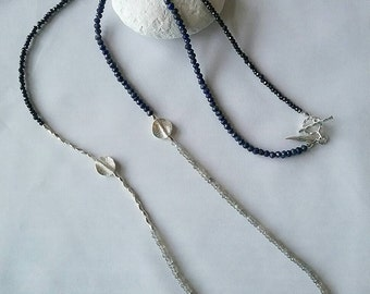 Black and Blue Necklace .. Lapis, Black Spinel and Labradorite and Thai silver long necklace