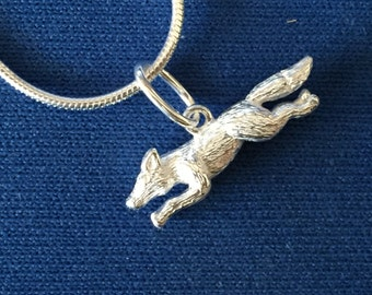 Small Running Fox Sterling Silver Pendant and Snake Chain