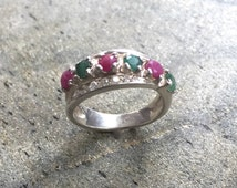 Double Ring, Emerald Ring, Ruby Ring, Intertwined Ring, Small Ring, Double Band, Wide Ring, Natural Emerald, Solid Silver Ring, CZ Diamond