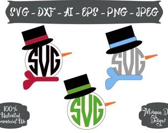 Snowman SVG -  Monogram Snowman SVG - Christmas SVG - Christmas Clipart - Files for Silhouette Studio/Cricut Design Space