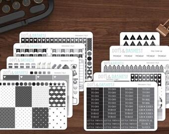 M1- Monotone 1 kit, grey monthly kit, planner sticker kit, full month kit, gray scale kit, kawaii planner kit,