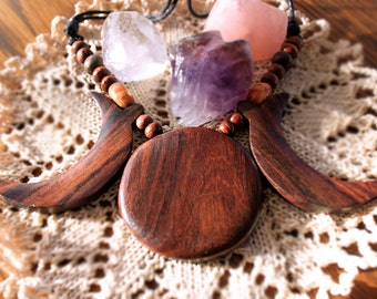 Triple Moon, wooden necklace