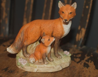Fox and Cub Porcelain Figurine - Home Interiors -1417- Vixen & Pup/Woodland Decor/Rustic Decor/Vintage Gift/Wildlife/Cabin Decor/Red Fox