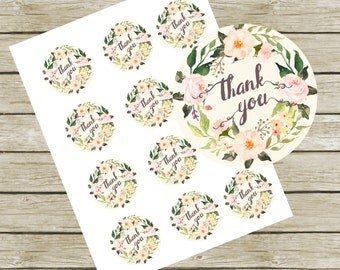 """Thank You Tags Printable. 2"""" Round Tags. Instant Download. Thank You Tags for Baby Shower. Thank You Tags for Wedding. Thank you Labels."""