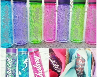 Personalized Insulated Freeze Gel Time Mark Water Bottle with Straw