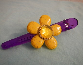 Large Hair Clip with Yellow Flower