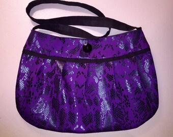Black and purple snake print pleated purse
