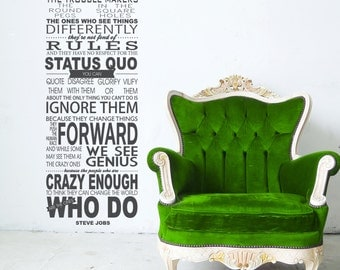 Here's to the crazy ones, Steve Jobs, Apple world genius, Vinyl Decor, Wall Subway art, Wall Lettering, Words, Quotes, Decals