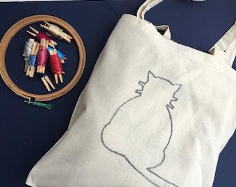 Tote-bag cat / / shopping cat bag / / shopping cart / / original gift idea / / hand embroidery / / bag teenager / / computer bag