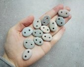 Rustic Beach pebble buttons Handmade stone buttons Drilled pebbles 12 pcs