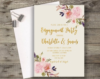 Engagement Party Invitation, Boho Chic Invite, Peony Invitation, Engagement Invite, Bohemian Invitation, DIY Invitation