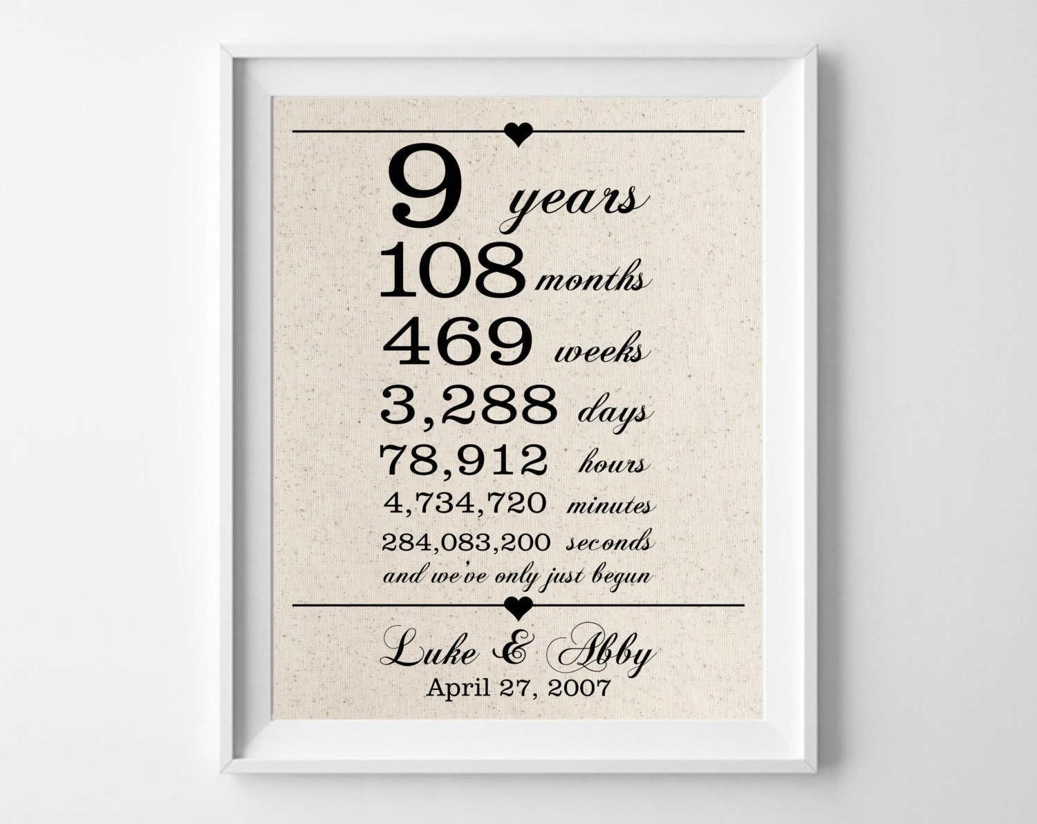 9 Years Together Cotton Gift Print 9th Anniversary Gifts