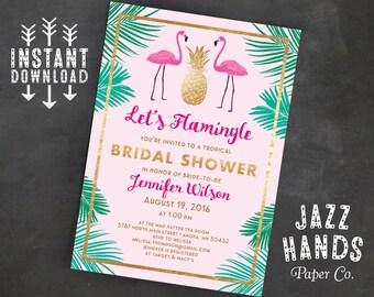 Let's Flamingle Printable Bridal Shower Invitation Template, Flamingo Party, Wedding Shower, Tropical, Pineapple, Flamingo Invitation