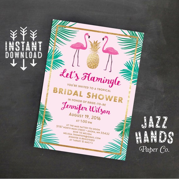 Let39s flamingle printable bridal shower invitation template flamingo party wedding shower for Tropical invitation template