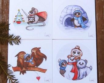 Christmas cards set of 4, Cute Animal Christmas cards, Festive greetings cards, Animal Christmas cards, Illustrated Cards, Christmas cards