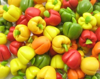 Dollhouse Miniature Food Lot 100 Bell Peppers Paprika Vegetable Supply Charms 4308