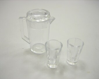 Dollhouse Miniature  1 Jug/ 2 Cup Plastic Beverage Supply Accessories Drink 12452