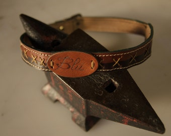 Hand made leather collar for dogs and cats. Customizable.