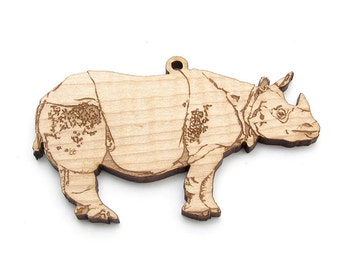 Indian Rhinoceros Christmas Ornament by Nestled Pines Woodworking - Zoo Animal Collection