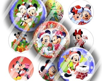 Digital Bottle Cap Collage Sheet - Christmas 5 - 1 Inch Circles Digital Images for Bottlecaps