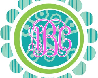 Personalized Monogram flower printed Decal **FREE SHIPPING**