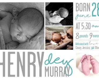 Birth announcement, baby boy announcement, baby girl announcement, baby announcement, modern birth announcement, printable