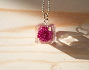 Handmade necklace with resin cube and real dried flower