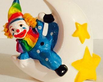 Vintage Porcelain 80s Clown On The Moon Bank