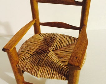 Antique Miniture Wicker Woving Caning Wood Doll Chair