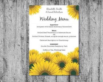 Printable Wedding Menu, Downloadable Wedding Menu, Wedding Menu, DIY Wedding Menu, Sunflower Menu, Printable Sunflower Menu, Printable Menu