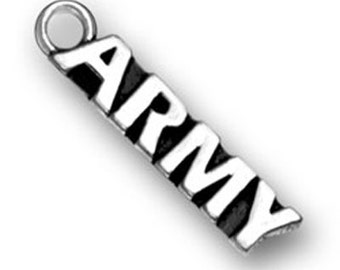 4 Army Charms, Antique Silver Tone (1K-121)