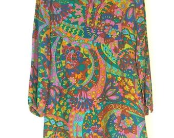 60's psychedelic print  mini dress