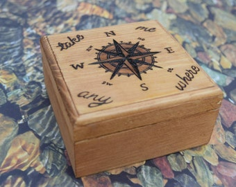 Travel Lover Gift - Compass Travel Adventure Box - Adventure Keepsake - Compass Keepsake Box - Travel Keepsake Box - Wood Burned Rustic Box