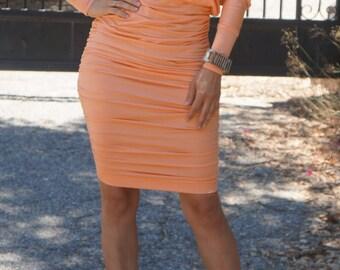 Dolman Sleeve Shirred Dress