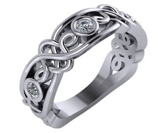 Unique Wedding Band, Bezel Set Diamond Ring, Bezel Set Diamond Band, Diamond Celtic Wedding Ring, Celtic Diamond Wedding Band.