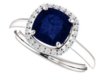 Sapphire Halo Ring, Diamond Halo Engagement Ring. Sapphire Engagement Ring, Diamond and Sapphire Engagement Ring, 2 Carat Sapphire